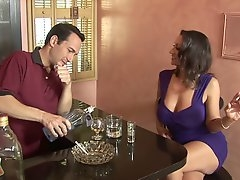 Lewd barman lures busty cougar Persia Monir for some steamy fuck